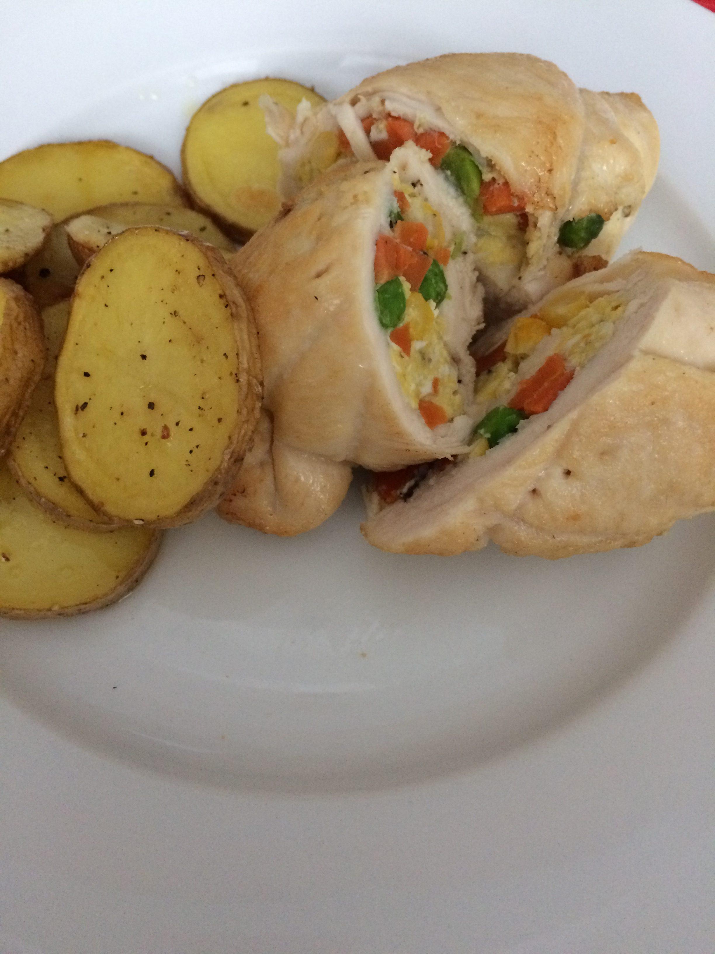 Lehké kuřecí závitky s vaječnou nádivkou a pečenými brambory